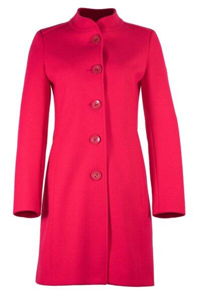Вталено право палто, със столче яка