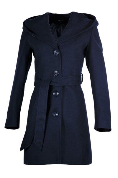 Вталено дамско палто с качулка и подвижен колан
