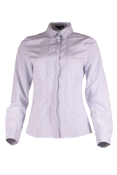 Класическа дамска риза с дълги ръкави и вградени детайли на предницата