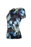 Трикотажна дамска блуза с къс ръкав и гръцко деколте-Copy