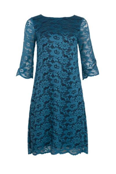 Дамска рокля от дантела с 3/4 ръкав и цип