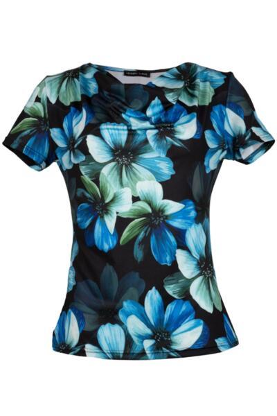 """Трикотажна дамска блуза с къс ръкав и """"гръцко"""" деколте"""