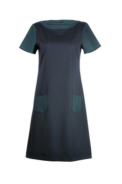 Дамска рокля с къс ръкав и малки джобчета