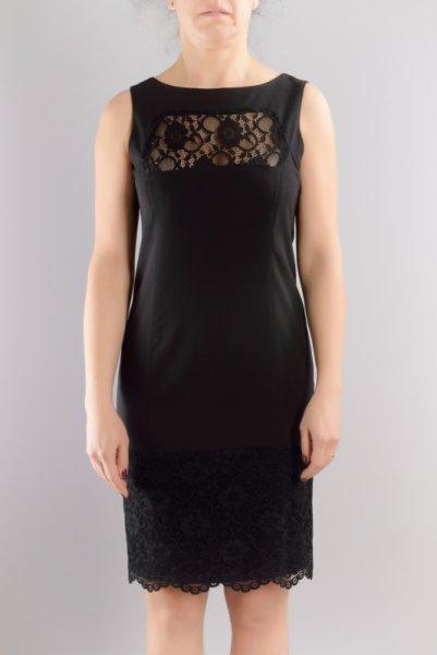 Женствена рокля от жоржет и еластична дантела