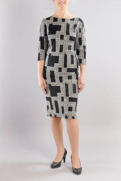 Вталена рокля от трико с щампа