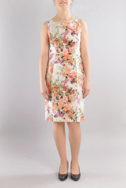 Вталена рокля с щампа