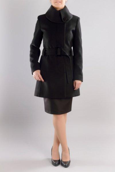 Дамско асиметрично палто с голяма яка и колан