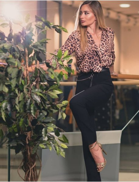 Дамско боди тип риза с леопардов десен