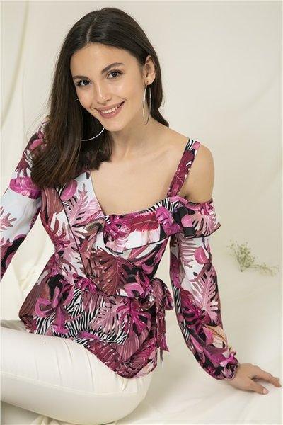 Розова блуза с едно рамо