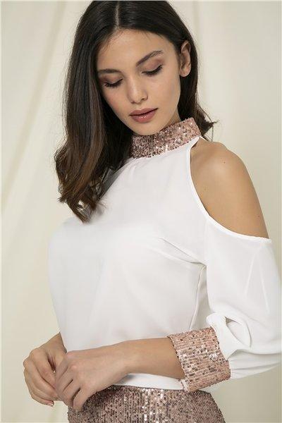 Пайетена дамска блуза