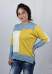 Дамски плетен пуловер на цветни фигури