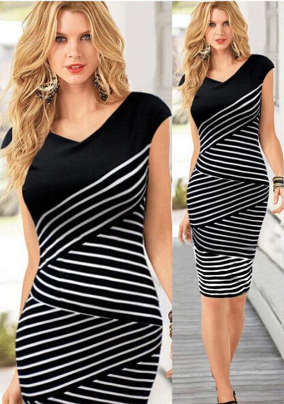 Дамска рокля в черно и бяло