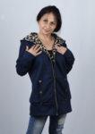 Дамско  палто суитшърт с подплата  тип леопардова кожа