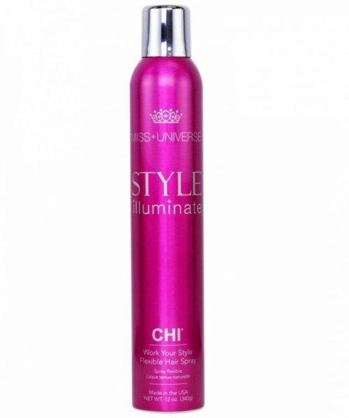 Лак за коса със силна фиксация с масла от макадамия и безсмъртна моринга CHI Miss Universe Style Iluminate 284 гр.