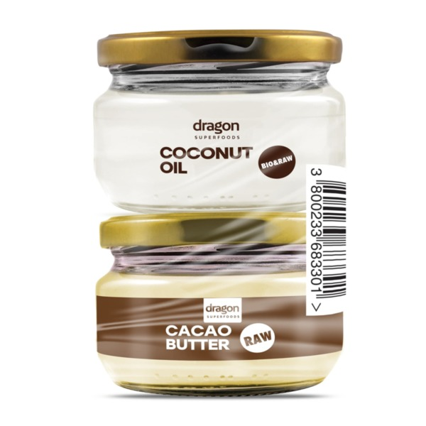 Промо Пакет БИО Кокосово Масло 100 ml + БИО Какаово масло 100 ml -Dragon Superfoods