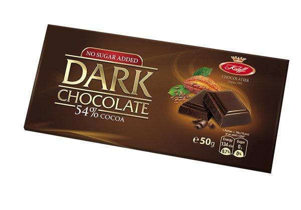 Натурален черен шоколад 54% NO SUGAR ADDED без захар - Koleff - 50 гр.