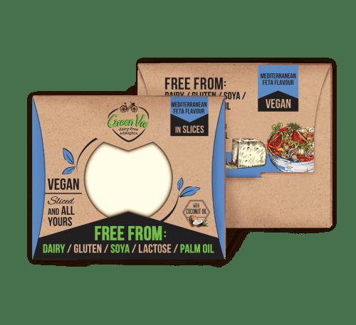 Веган кашкавал със Средиземноморски вкус - GreenVie - слайс 180 гр. Без глутен