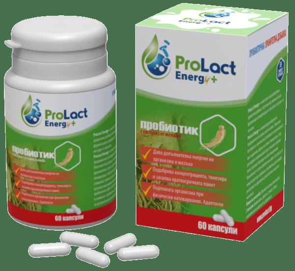 ProLact Energy + - Пробиотик за Енергия и Тонус на Мозъка - 60 капсули