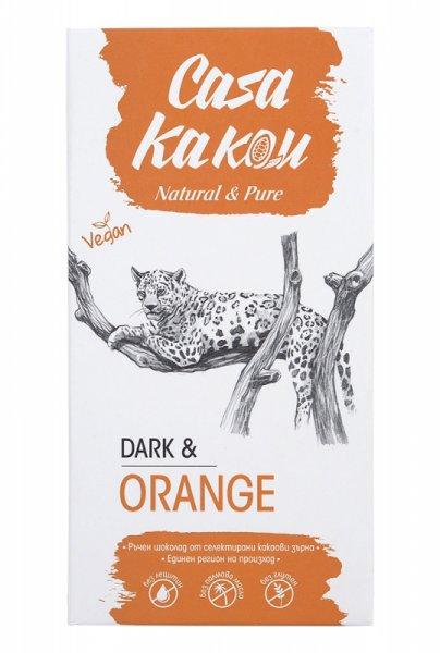 Casa Kakau Черен Веган Шоколад с Портокалови корички- 90 гр.