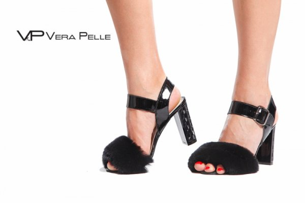сандали Vera Pelle модел Lux черен лак + косъм
