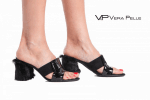 чехли Vera Pelle модел Alena черен велур + черен лак + пони косъм