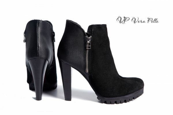 боти Vera Pelle код- 1650 черна кожа + черен велур