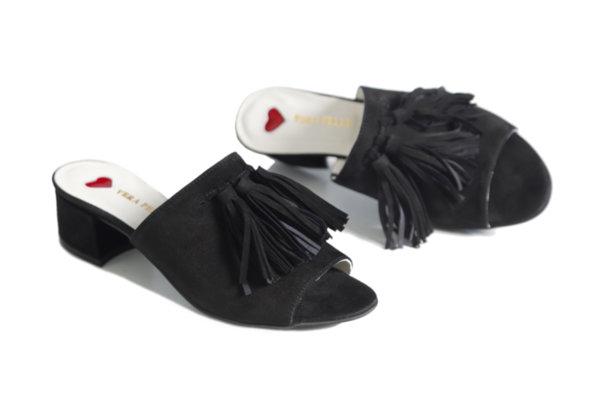 Дамски чехли Vera Pelle модел - Axsi черен ярешки велур