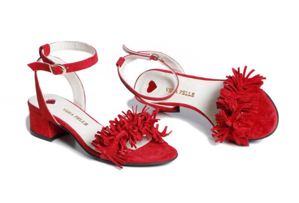 Дамски сандали Vera Pelle модел - Vast червен ярешки велур