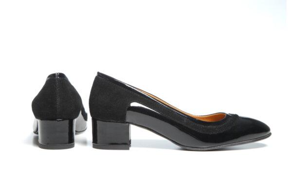 Дамски обувки Vera Pelle модел - 881319 черен лак + черен велур