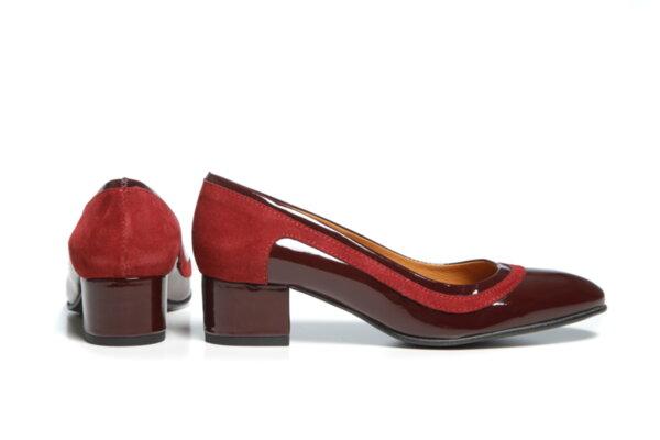 Дамски обувки Vera Pelle модел - 881319 бордо лак + бордо велур