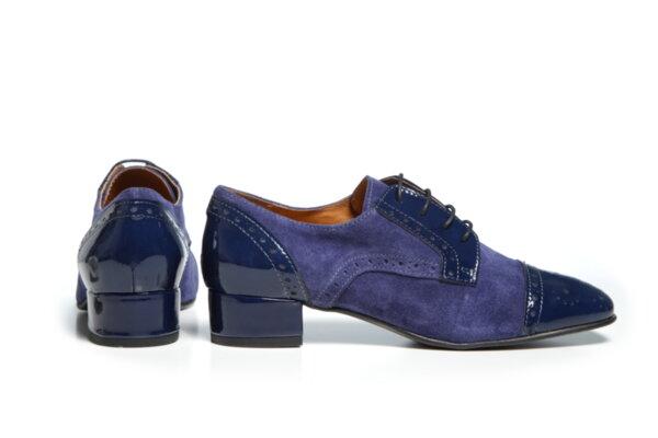 Дамски обувки Vera Pelle модел - 881219 син велур + син лак