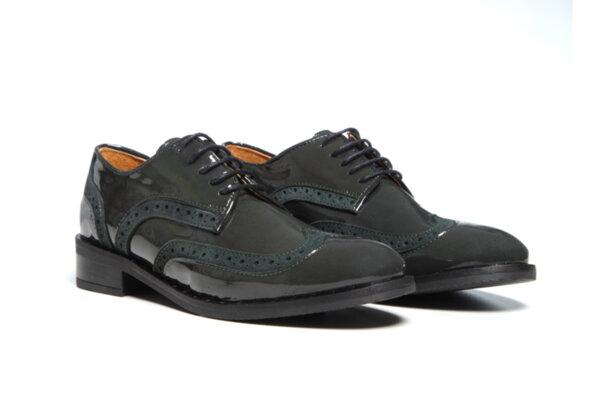 Дамски обувки Vera Pelle модел - 881419 маслено зелен лак +велур