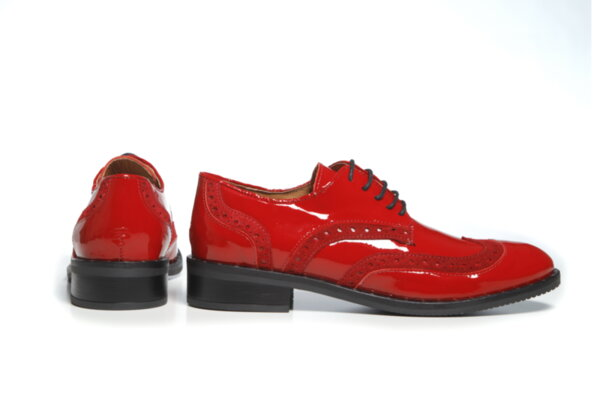 Дамски обувки Vera Pelle модел - 881419 червен лак + червен велур