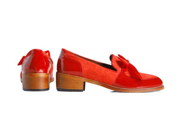 Дамски обувки Vera Pelle модел - 200319 червен лак + червен велур
