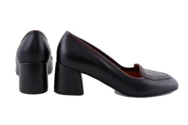 Дамски обувки Vera Pelle FLEX модел  -  2023 черна кожа + тъмно кафе кант