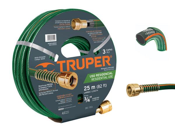 "TRUPER комплект трислоен 3/4"" маркуч, месингови фитинги, зелен - 25 м"