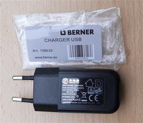 BERNER - 230V захранващ щепсел за зареждане на USB кабел
