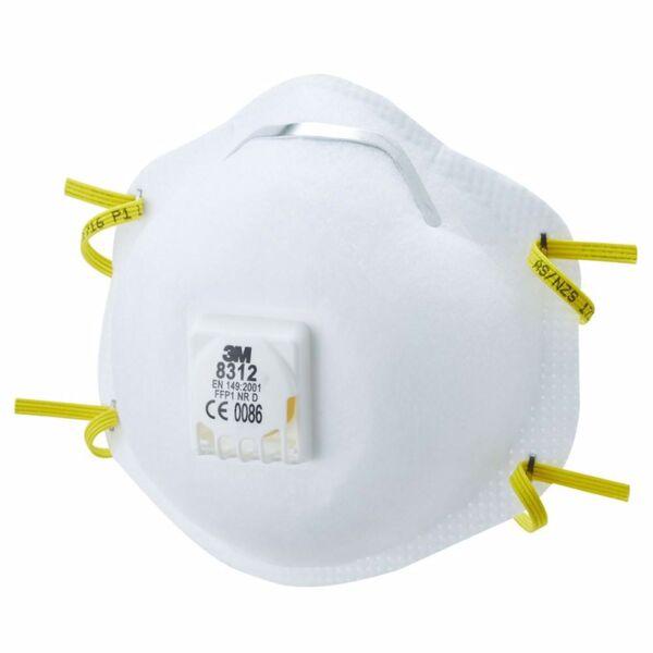 Респираторна маска с клапа 3М, жълта лента, 8312, FFP1
