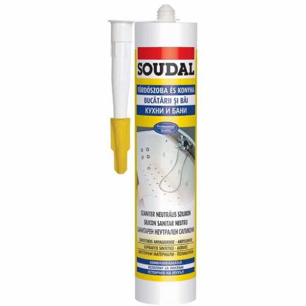 Санитарен силикон SOUDAL, 280 ml, картуш  бял