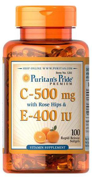 Puritan's Pride Vitamin C-500mg + Vitamin E-400 IU - 100 таблетки
