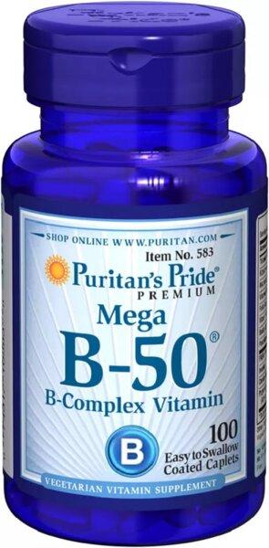 Puritan's Pride Vitamin B-50 - 100 капсули