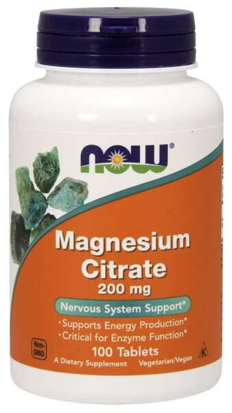 NOW Foods Magnesium Citrate 200mg - 100 таблетки