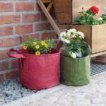 """Сет от Червени Текстилни """"Root Builder"""" Контейнери за растения в различни размери"""