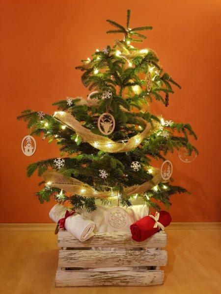 Винтидж Арт Дървена Кашпа за Коледна елха 50-35-25 см