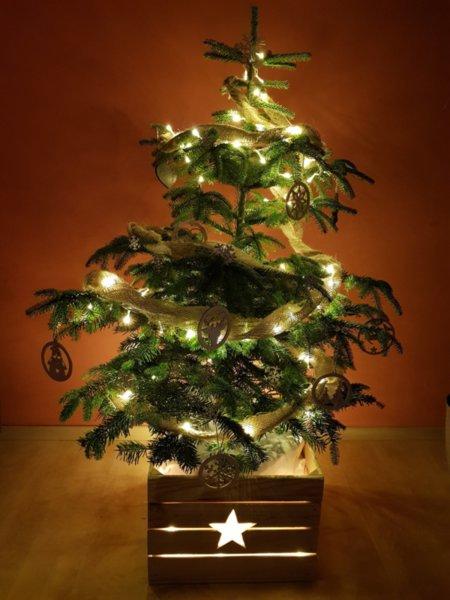 """Светеща Дървена Кашпа """"ЗВЕЗДА"""" за Коледна Елха в 3 размера"""