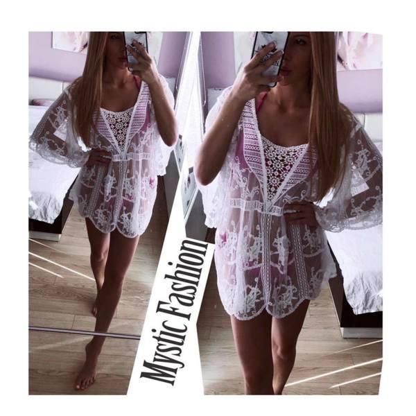 Бяла плажна рокля 002
