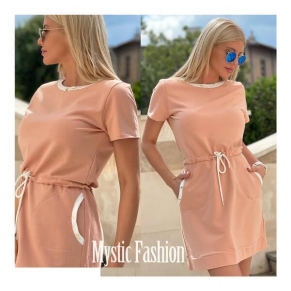 Розова спортна рокля с връзка