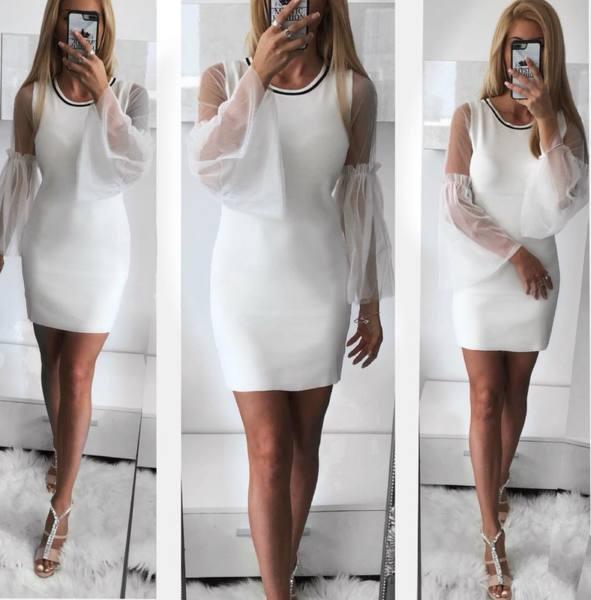 Бяла рокля с тюлени ръкави