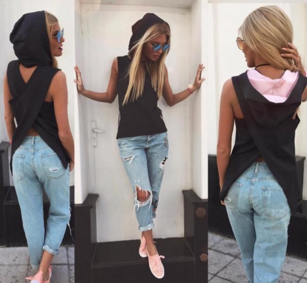 Черна блуза с кръстосан гръб