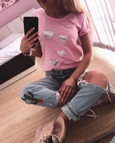 Розова тениска със сърца